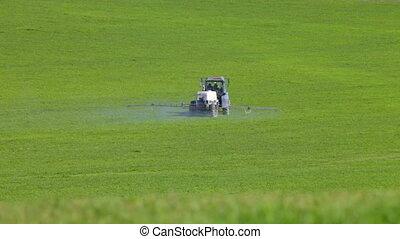 ferme, pulvérisation, tracteur, champ