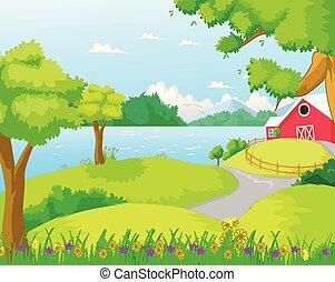 ferme, rivière, forêt, illustration
