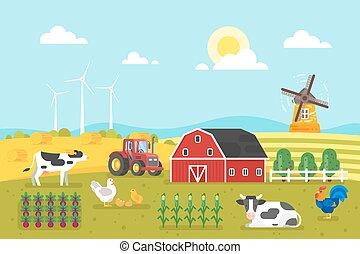 ferme, vaches, chicken.