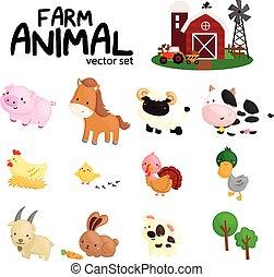 ferme, vecteur, animal