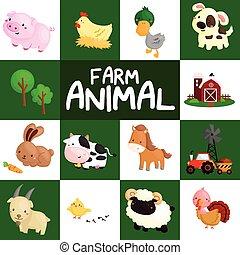 ferme, vecteur, ensemble, animal