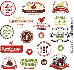 ferme, vendange, étiquettes, moderne