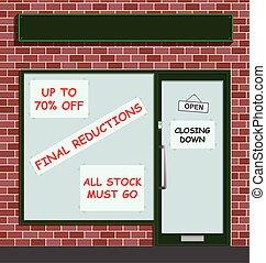 fermer, bas, magasin, vente au détail