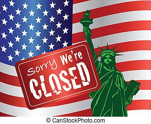 fermeture, statue, liberté, gouvernement