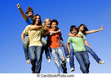 ferroutage, adolescents, course, divers