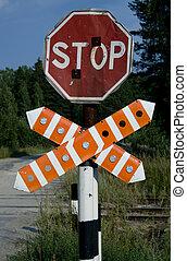 ferroviaire, avertissement, stop