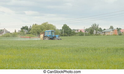 fertiliser, pulvérisation, chemicals., tracteur, champ
