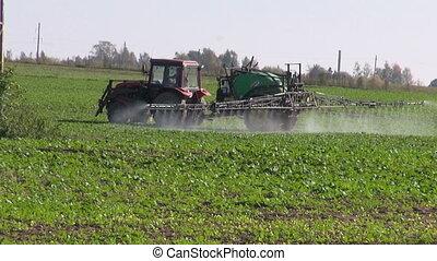 fertiliser, pulvérisation, tracteur, récolte, champ