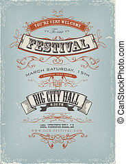 festival, affiche, grunge, invitation