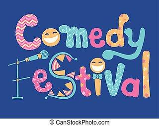 festival, lettrage, comédie, illustration