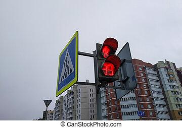 feu rouge, trafic, grand plan, bâtiment, piétons, fond