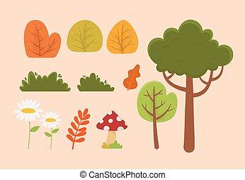 feuillage, arbre, végétation, nature, buisson, fleur, icônes, feuille, champignon