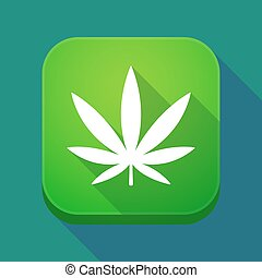 feuille, app, marijuana, long, ombre, icône