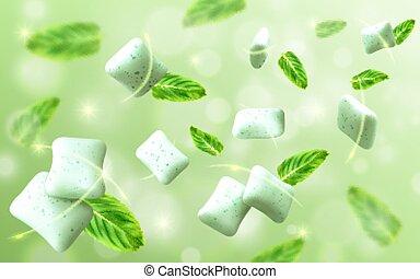 feuille, arrière-plan., lumière, gencive, réaliste, vecteur, vert, illustration, saveur, menthe