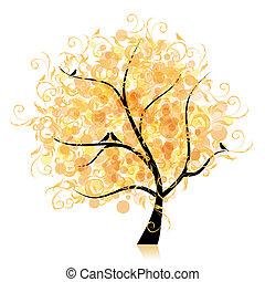 feuille, art, arbre, beau, doré