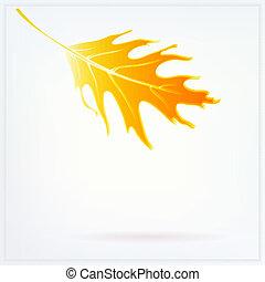 feuille, automne, lumières, tomber, doux, blanc, carte