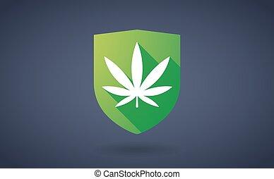 feuille, bouclier, marijuana, long, ombre, icône