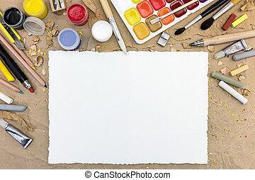 feuille, bureau, papier, divers, vide, outils, dessin