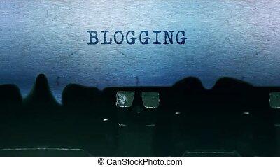 feuille, dactylographie, typewriter., papier, blogging, mots, vieux, vendange