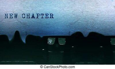 feuille, dactylographie, typewriter., papier, mots, vieux, chapitre, vendange, nouveau