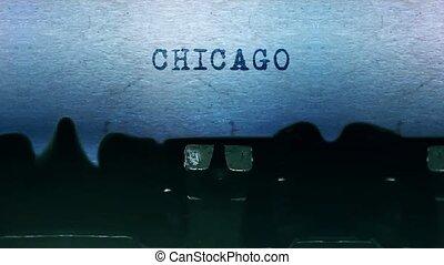 feuille, dactylographie, typewriter., papier, mots, vieux, chicago, vendange