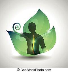 feuille, dos, vert, arrière-plan., santé, humain, soin, silhouette