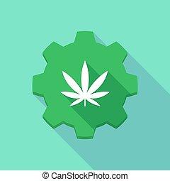 feuille, engrenage, marijuana, icône, ombre, long