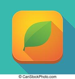 feuille, icône, long, vert, ombre, app
