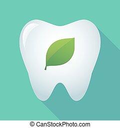 feuille, icône, long, vert, ombre, dent