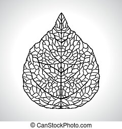 feuille, isolated., macro, illustration, vecteur, noir, naturel