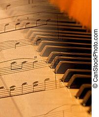 feuille, lumière, sur, brouillé, musique, mélangé, piano, doux