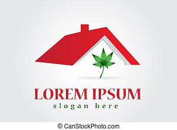 feuille, maison, cannabis, vecteur, conception, logo