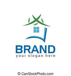 feuille, maison, vert, vector., maison, logo