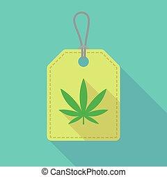 feuille, marijuana, long, étiquette, ombre, icône
