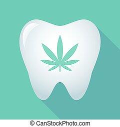 feuille, marijuana, long, dent, ombre, icône