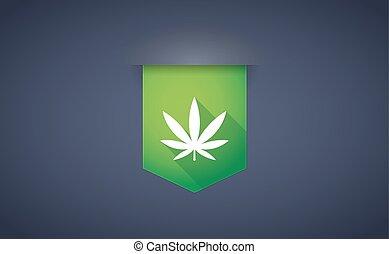 feuille, marijuana, long, ombre, ruban, icône