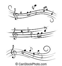 feuille, notes, musique, musical