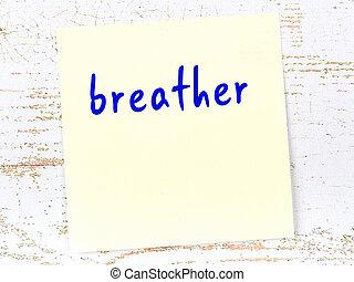 feuille, papier, jaune, rappel, breather., concept, mot