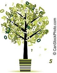 feuille, pot, nombres, arbre, ton, vert, conception