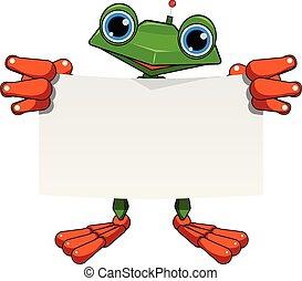 feuille, robot, illustration, grenouille, blanc, stockage