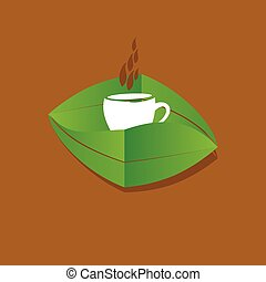 feuille, tasse thé, vert