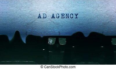 feuille, vieux, dactylographie, agence, vendange, typewriter., mots, annonce, papier