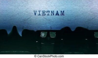 feuille, vieux, dactylographie, vendange, typewriter., mots, vietnam, papier