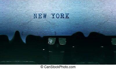 feuille, york, dactylographie, typewriter., papier, mots, vieux, vendange, nouveau
