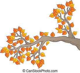 feuilles, 2, arbre, dessin animé, branche
