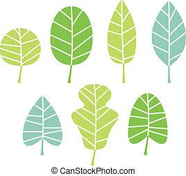 feuilles, arbre, isolé, collection, blanc vert