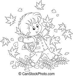 feuilles automne, écolier