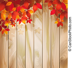 feuilles automne, bois, fond, texture