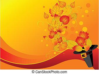 feuilles automne, chapeau, pilgrim%u2019s