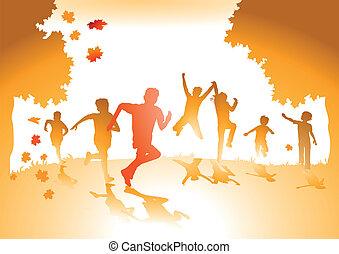 feuilles, automne, enfants